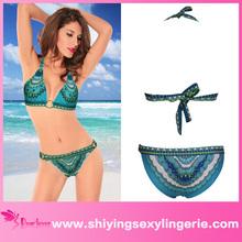 Classic Wholesale Blue Cool Summer Paisley Print micro thong latex bikini swimwear