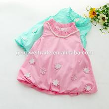 Boutique children girl's dress,Pearl decoration design,2014 Summer