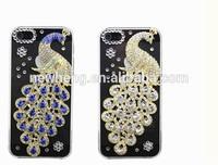 Bling 3D PC Plastic Peacock Ocean Crystal Diamond Rhinestone Hard Case For Apple iPhone 5 5G 5S
