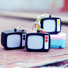 Retro TV Set Television LED Light with Sound Key Chain Ring