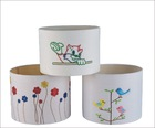 bird,flower embroidery pattern over white cotton lamp shade