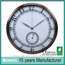 Guang zhou DANNOL 12inch metal clock decorative wall thermometer
