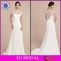 2014 Chiffon Lace Scoop Neck Ruffle Court Train Wedding Dress In Cream Color