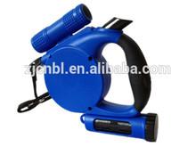 Retractable dog leash flexible lead with removable LED flashlight waste bag dispenser TPE handle pet product
