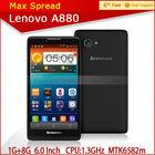 1.3GHz 1g ram 8g rom Lenovo A880 6.0 inch screen MTK6582m quad core-CPU dual sim handphone android