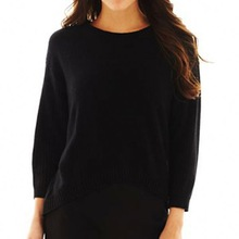 lace hem long sleeve render unlined sweater