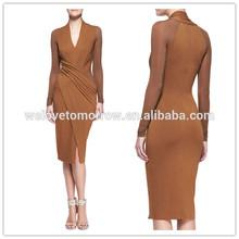Women Deep V neckline Cool Draped Long-Sleeve Jersey Dresses (TW0381D)