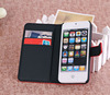 Lichi Grain folio flip skin case PU Leather Cover Case for Apple iPhone 5S 5 with stand and card slots