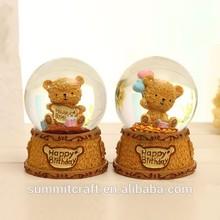 Resin cute lighting bear water globe music box return gifts for birthday