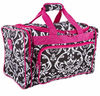 Rose red trim damask printing large capacity travel bag gym sport bag hot sale