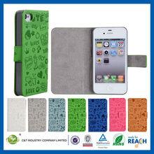 C&T Sublimation folio flip screw leather for iphone 4/4s pu case