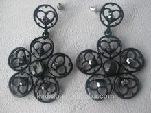 Black painted flower & heart shaped Black Diamond earrings