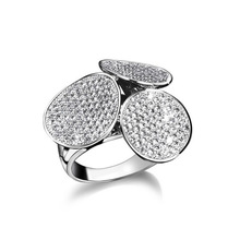 Trendy 3 leaves finger white gold plated clear CZ stone rings