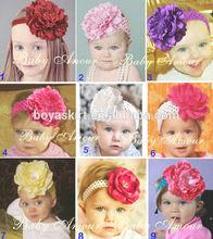 Cute baby headband infants chiffon silk big flower headband for girls accessories babies stretchy head band toddlers head wear