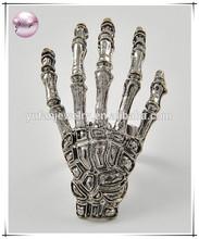 Antique Silver Tone Metal / Lead Compliant / Halloween / Skeleton Hand / Adjustable Ring
