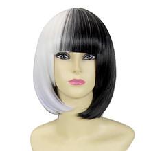 Hot Sale Synthetic Short BoB Half Black Half White Wig