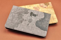 World map design PU case, popular tablet cover for ipad mini