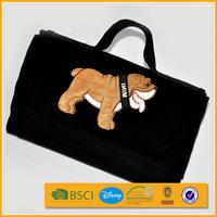 promotion embroidery logo new black foldable travel picnic blanket