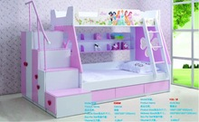 2014 high quality princess cartoon durable twin bunk bed is made by E1 MDF board with environmental paint