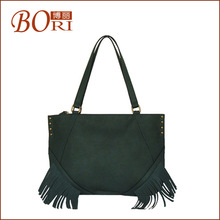 2014 latest pu brand fashion women tote bag with tassel and rivet