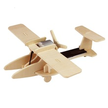 Robotime DIY 3D Wooden Puzzle solar toy military aircraft