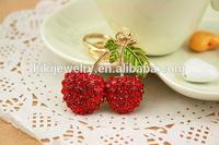 sweet crystal alloy cherry keychain