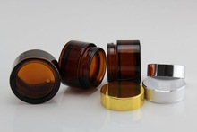 20g/30g/50g/100g amber cosmetic jars glass with alu lids