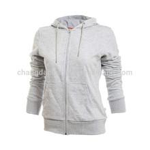 Cotton Fleece Plain Zip Up Hoodies Wholesale for Women