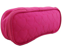 Solid-color quilted cosmetic bag heart embroider with mirror