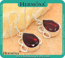 925 Sterling Silver Garnet Trendy Women Dangling Earring Women Noveties 2014 GM464, 1 3/8""