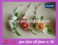 baratos artificial rosa vermelha com fita de seda flor coroa