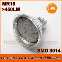 Fast Delivery! 5W SMD 3014 LED Spotlight MR16/ GU10 >450LM 20 LEDs 220V with Glass Cover High Quality Energy Saving