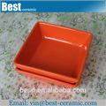 turuncu renkli sırlı kare seramik salata kaseleri