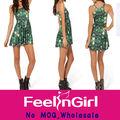 Hot venda nova verde verão doce dólar barato mini vestido skater 2014