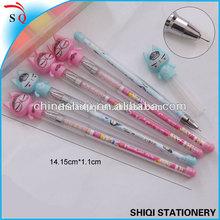 Student gel pen with cat shape cap heat transfer logo print