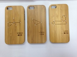 12 Constellations Wooden Bamboo Hard Case Cover For iPhone 5 5s iPhone 4 4s