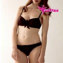 Hot-sell classic black lingerie ladies basic bra & panty underwear set