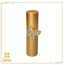 gold finish cap base diamond ring pocket sized perfume spray bottle