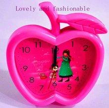 funny apple shape kids plastic table alarm clocks