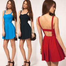 New Summer Fashion bare back Sexy mature women Strap Slim Sleeveless Dress Club Evening Mini Dress SV002608