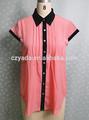 2014 de color rosa y negro de gasa casual dama blusas readymade