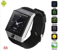 Android 4.0 1.54 Inch Capacitive Touch Screen 2.0MP Camera WIFI GPS Bluetooth smart watch mobile phones S5.