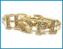 fashion gold crystals hope message wire ring set of 4 fingers