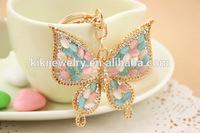 new design crystal mini animal butterfly keychain