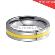 yellow line men's tungsten rings,men's tungsten rings spiky white,groove tungsten ring for men