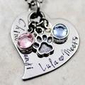 de acero inoxidable de metal de plata personalizada colgante personalizado estampado a mano joyas de la familia de los niños los nombres de animales domésticos