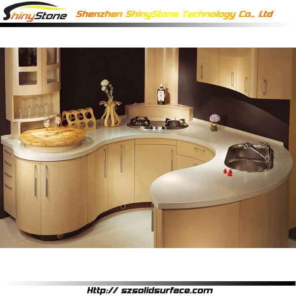 Charmante ronde vorm ontwerp moderne keuken ontwerp gebogen ondergrond keuken keuken kasten - Ontwerp keuken bar ...