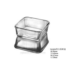 Hot sale lead free square shaped fresh food glass preservation box/ crisper 750ml(glass factory had passed EU,SGS,FDA)