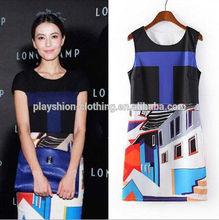 European Brand Women Block Print Bodycon Dress For Hot Summer 2014