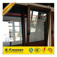 Modern aluminium wood color tilt and turn windows/manufacturer & suppliers of tilt and turn windows
